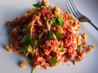 野菜料理家 庄司いずみさんの野菜で作るパスタレシピ! 【くるみのボロネーゼ ズッキーニパスタあえ】