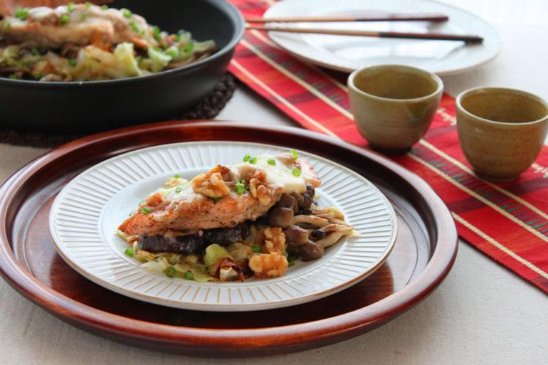 秋鮭と茄子のくるみ味噌焼き